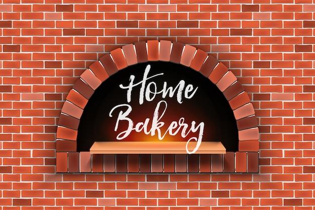Mattone di pietra, forno a legna per pizza, forno per la casa.