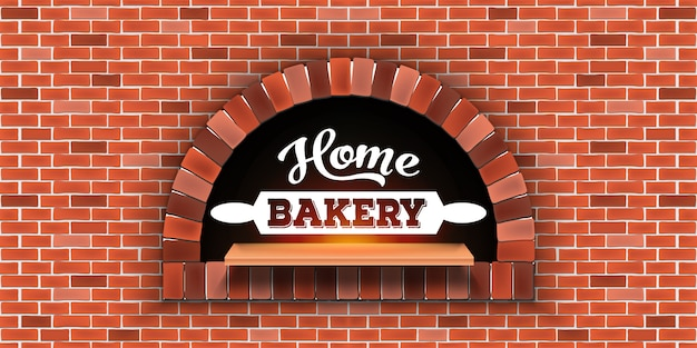 Mattone di pietra, forno a legna per pizza, pasticceria di casa.