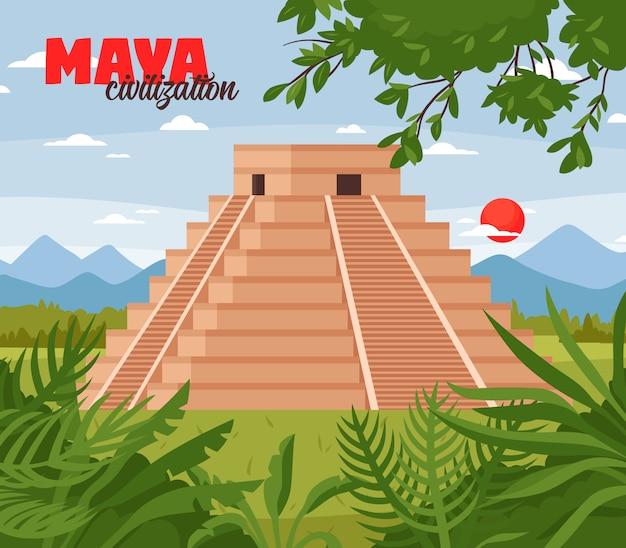 Maya pyramids doodle background