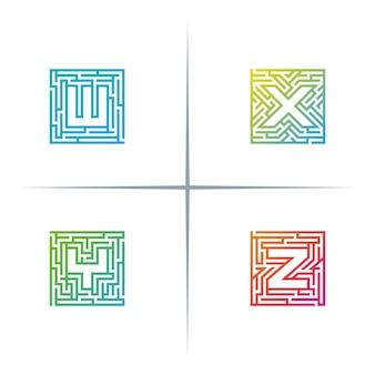 Maze letter logo design set