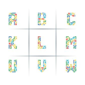Maze puzzle letter logo design set