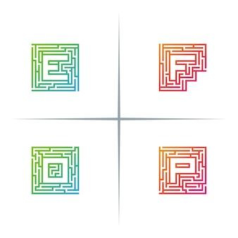 Maze typography letter logo design set