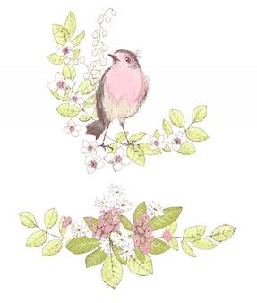 Mazzi di fiori belli, fiori selvatici e uccello robin. composit