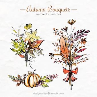 Mazzi di fiori d'autunno in acquerello