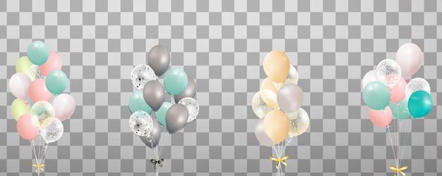 Mazzi e gruppi di palloncini colorati elio isolati su sfondo trasparente. palloncino festa glassato per la progettazione di eventi. decorazioni per feste di compleanno, anniversario, celebrazione.