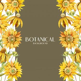 Mazzo botanico del girasole giallo dell'acquerello su progettazione laterale, fondo marrone e bianco