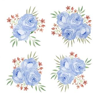 Mazzo del fiore con l'insieme floreale rosa dell'illustrazione dell'acquerello