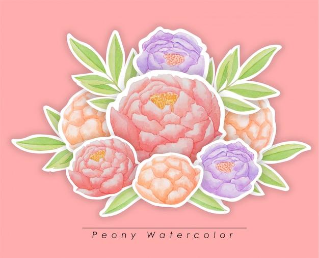 Mazzo delle peonie dell'acquerello isolato. combinazione dipinta a mano di fiori e foglie verdi. illustrazione floreale