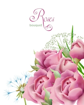 Mazzo delle rose della molla dell'acquerello con le foglie verdi e dente di leone