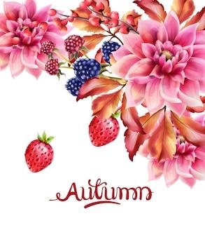 Mazzo di bacche e fiori d'autunno