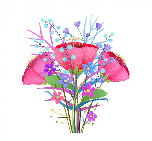 Mazzo di fiori estivi illustrazione. fiori di papaveri astratti clipart isolato. flora primaverile, ramoscelli di fiori di campo. elementi di disegno botanico di erbe e foglie. peonie rosa, disegno di tulipani