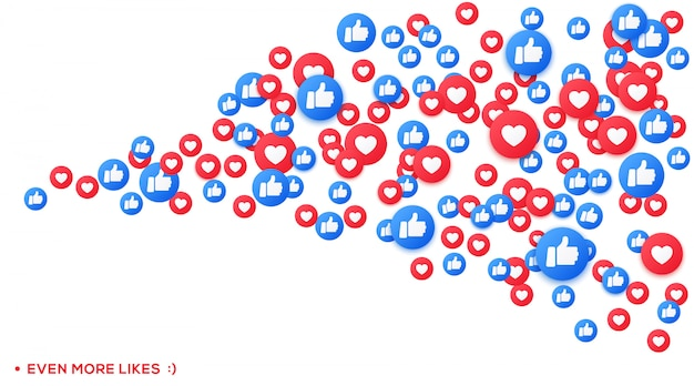 Mazzo di icone emoji simili e apprezzate, pollice su social network streaming. icone galleggianti cuore e colpo.