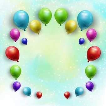 Mazzo di palloncini su uno sfondo stellato acquerello