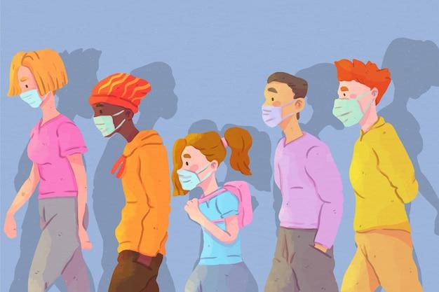 Mazzo di persone che indossano maschere per il viso