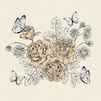 Mazzo floreale d'annata disegnato a mano realistico