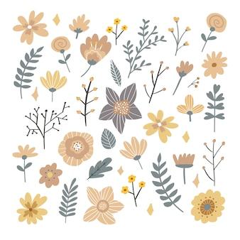 Mazzo floreale dei fiori pieghi di fantasia disegnata a mano
