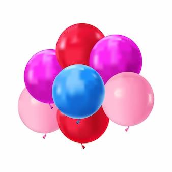 Mazzo realistico colorato di palloncini di compleanno in volo