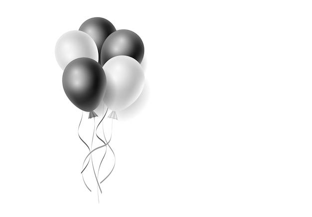 Mazzo realistico di palloncini di elio bianchi e neri