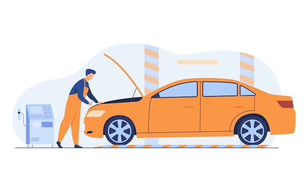 Meccanico automatico che ripara l'illustrazione piana di vettore isolata motore del veicolo. uomo del fumetto che fissa o controlla auto con cofano aperto in garage.