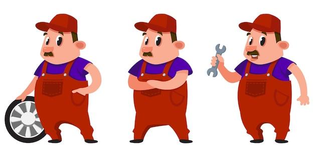 Meccanico automobilistico in diverse pose. personaggio maschile in stile cartone animato.
