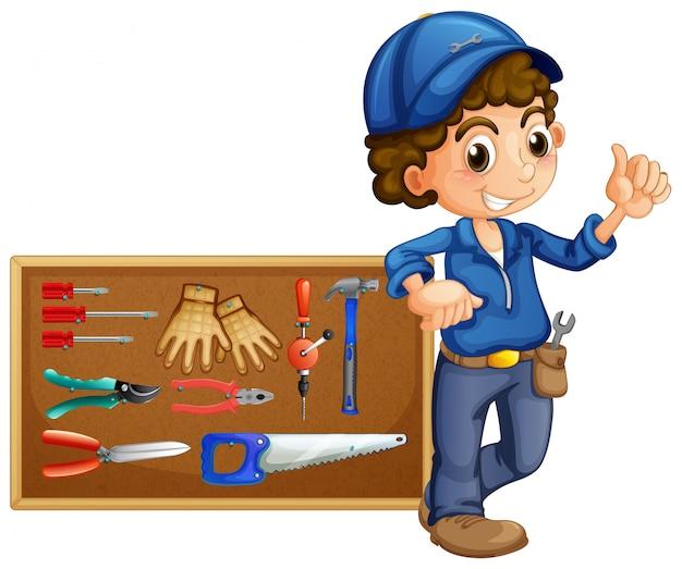 Meccanico con molti strumenti