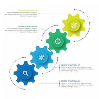 Meccanismo aziendale modello struttura infografica con icone e 4 opzioni o passaggi.