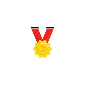 Medaglia d'oro isolata nel fondo bianco