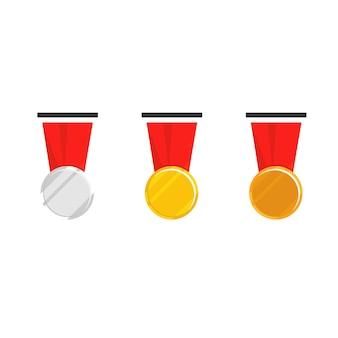Medaglia di campione con nastro rosso