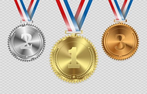 Medaglie premio isolate su sfondo trasparente. illustrazione del concetto di vincitore.