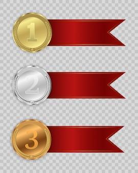 Medaglie premio isolate su sfondo trasparente.