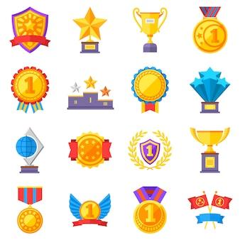 Medaglie trofeo e icone di successo nastro vincente. vincere premi simboli del vincitore del vettore. successo e trofeo