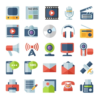 Media e comunicazione icone piane.