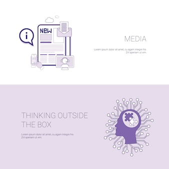Media e pensare fuori dall'insegna di web del modello della scatola con lo spazio della copia