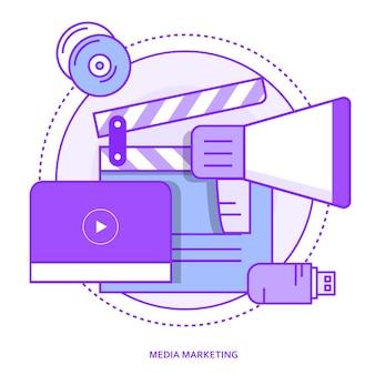 Media marketing concetto di contorno
