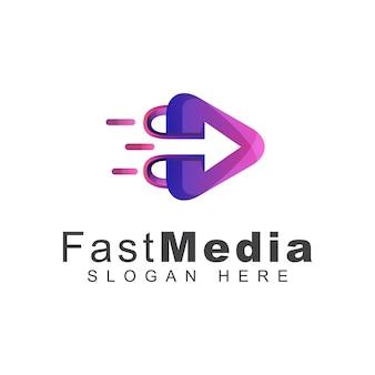 Media moderni e veloci o riproduci il design del logo con gradiente multimediale