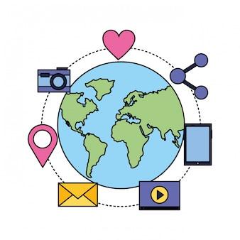 Media sociali del globo del fumetto della bolla del email del globo