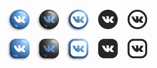 Media sociali moderni 3d e icone piane messe