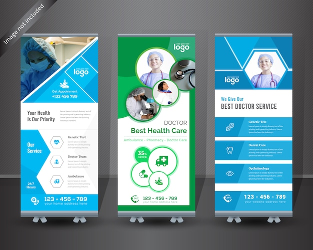 Medical roll up banner per l'ospedale