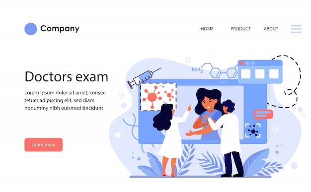 Medici che studiano malattie della pelle. modello di sito web o pagina di destinazione