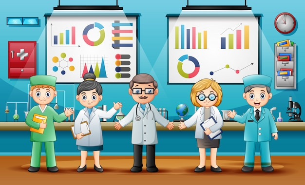 Medici con chimici professionisti in laboratorio
