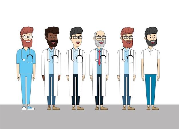 Medici con diagnosi mediale dello stetoscopio e uomo