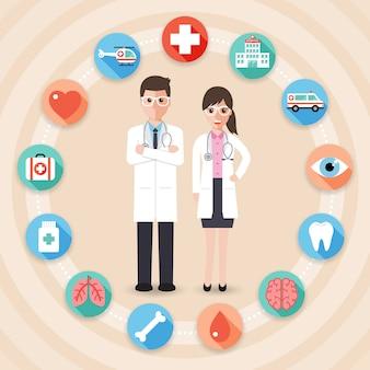 Medici con icone mediche.