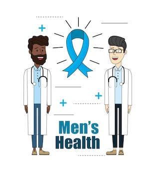Medici con lo stetoscopio con la salute degli uomini del nastro
