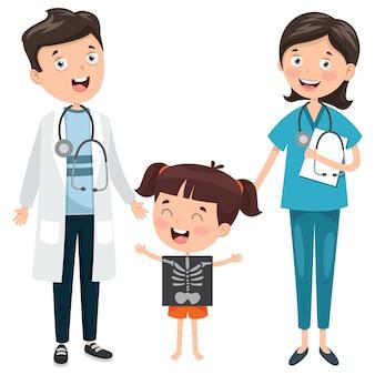 Medici e bambino che mostrano raggi x.
