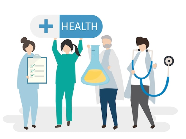 Medici e illustrazione di salute