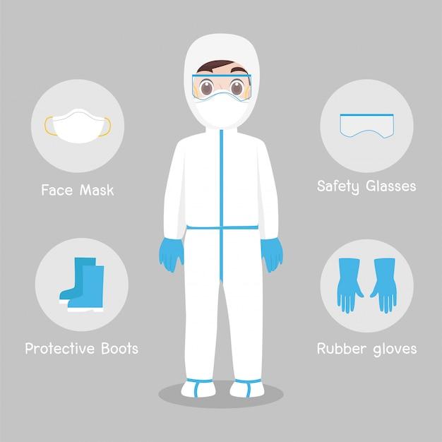 Medici il carattere che indossa in tuta protettiva completa abbigliamento isolato e attrezzatura di sicurezza