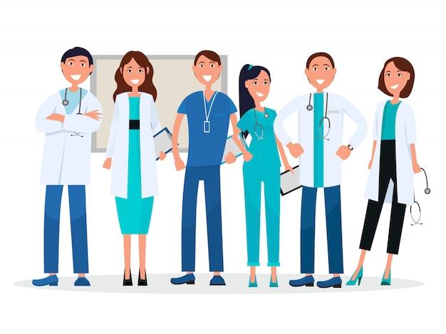 Medici in uniforme. i consulenti medici vector gli operatori sanitari con stetoscopi, compresse e badge.