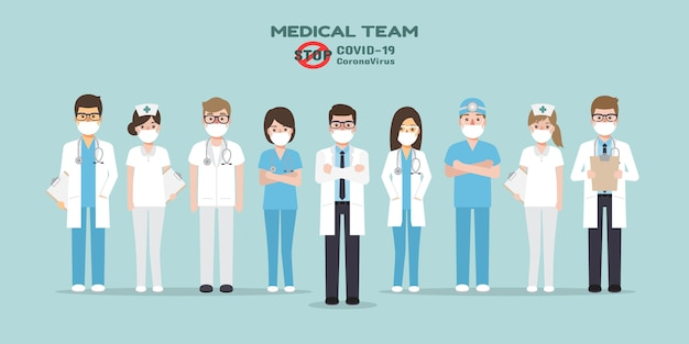 Medici, infermieri e personale medico in possesso di poster che chiedono alle persone di evitare il virus corona e covid-19 si diffondono rimanendo a casa. consapevolezza della malattia di coronavirus.