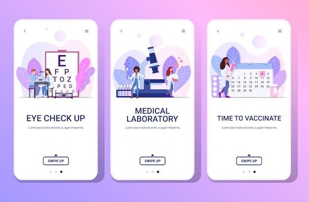Medici ospedalieri che esaminano visione dell'occhio che fa il tempo di esperimenti per vaccinare orizzontale integrale dello spazio della copia di app mobile della raccolta degli schermi del telefono di concetto della medicina di sanità