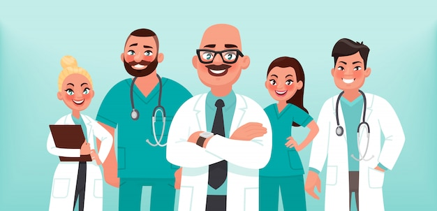 Medici. un gruppo di operatori sanitari. medico capo e specialisti medici